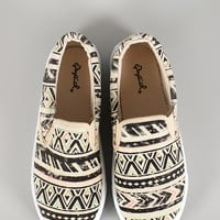 Qupid Tribal Canvas Slip On Sneaker