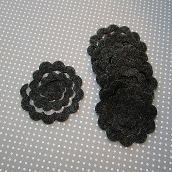 Set of 12 charcoal felt flower rosette, DIY, felt die cut out, felt flower, rose cut out, bouquets, small felt 3D roses, embellishment