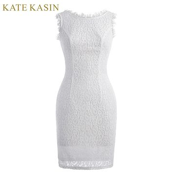 Kate Kasin White Lace Short Evening Dress 2017 Vestido de Festa Sleeveless Formal Dress Straight Slim Special Occasion Dresses