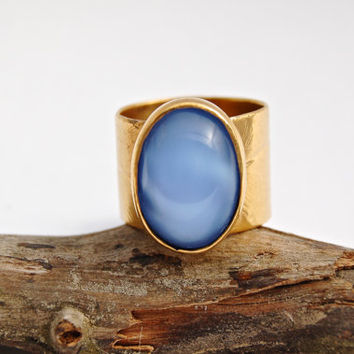 Bohemian Gypsy// Blue Chalcedony// Bezel Ring// Feather Imprint// Wide Band// 24k Gold// Size 8.5