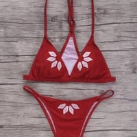 Embroidered Cami Bikini Set