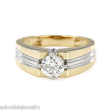 18k Two Tone Gold On 925 Sterling Solitaire White Diamond Wedding Ring For Men's