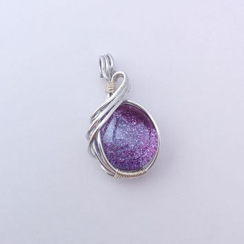 Purple glitter pendant, wire wrapped pendant, purple glass pendant, sparkling pendant