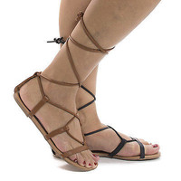 Daria1 Open Toe Strappy Leg Wrap Flat Sandals
