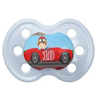 Trendy baby boy with race car pacifier design BooginHead pacifier