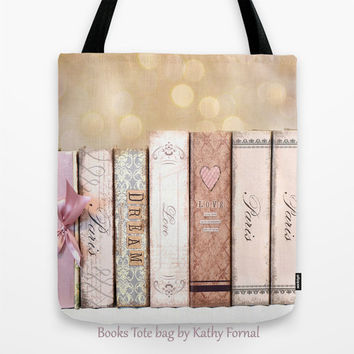 Paris Books Tote Bag, Shabby Chic Tote Bag, Cottage Paris Books Market Bag, Spring Art Books Tote Bag, Shabby Chic Paris Books Shopping Bag