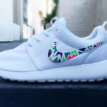 Custom Nike Roshe Run sneakers for women, Lime, purple, green, pink, tribal, triangle