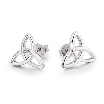 LUHE Sterling Silver Celtic Triquetra Knot Stud Earrings