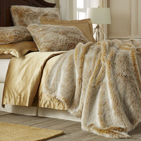 Gold Ombre Faux Fur Blanket & Shams