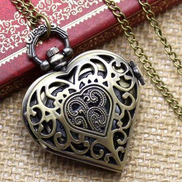 Antique Bronze Heart Locket Pocket Watch