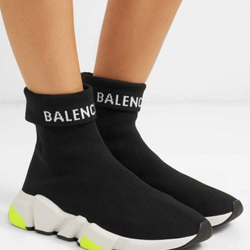 BALENCIAGA Speed logo-intarsia stretch-knit high-top sneakers