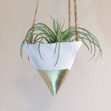 Concrete Planter, Hanging Succulent Planter, Modern Planter, Air Plant Holder, Indoor Planter, Gold Planter, Geometric Planter, Plant Pot
