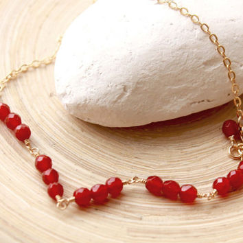 Gold filled Anklet with Carnelian, Carnelian jewelry, Beach boho style, Anklet bracelet, Genuine Carnelian and gold dainty anklet, resort
