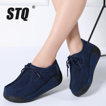 STQ 2018 Spring women flats platform sneakers shoes women casual shoes leather suede moccasins shoes women lace up creepers 3582