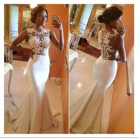 2016 Long sleeve pageant gowns Dress Back Sheer Sleeveless Mermaid Prom White Formal Evening sexy Dresses to a wedding wear to