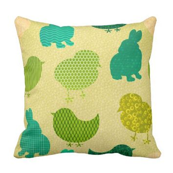 Lemon Lime Easter Chicks Texture Throw Pillow