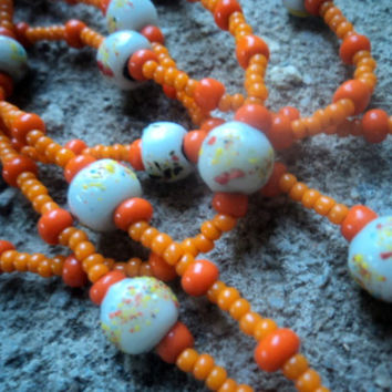 Vintage 70s Necklace Hand Painted Glass Beaded Tangerine Hippie Seed beads 18.5 inches