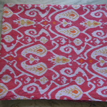 Pink Queen Ikat Kantha Quilt Blanket - Cotton Quilted Bedspreads,Throws,Ralli,Gudari Handmade Tapestery REVERSIBLE Bedding