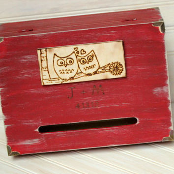 Card Box Love Letter Ceremony Box Rustic Winter Wedding Anniversary Wine Trunk Card  Box Keepsake Personalized (YOUR COLOR CHOICE)