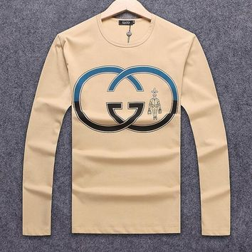 ''Gucci'' Fashionable Women Men Casual Double G Print Long Sleeve Round Collar Sweater Pullover Top Khaki