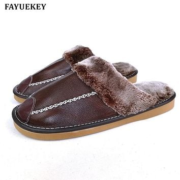 FAYUEKEY New Fashion Winter Genuine Leather Home Slippers Men Indoor Outdoor Slippers Warm Cotton Plush Non-slip Flat Shoes