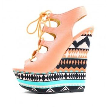 Dollhouse Believe Peach Open Toe Lace Up Cut Out Platform Women Wedge wowtrendz