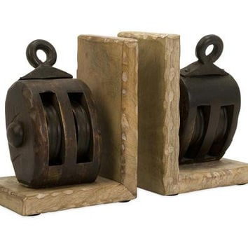 2 Bookends - Wooden Pulley