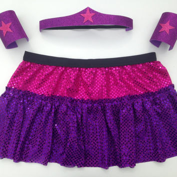 Pink and Purple Wonder Woman costume with head band and cuffs