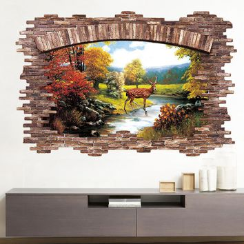 3D Floor Sticker Late Autumn Forest Deer Wall Stickers Home Decor Living Room Bedroom False Window Decoration Sticker Mural