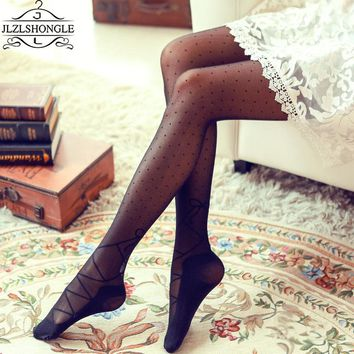 Lace Bowknot Core Patterned Silk Stockings Sexy Fashion Women Girls Sheer Footed Tights Pantyhose Thin High ElasticTattoo Tights