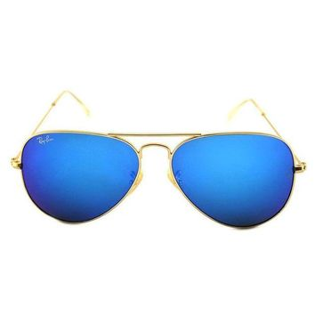 Gotopfashion Ray-Ban Aviator Large Metal Sunglasses RB3025- Matte Gold Frame, Crystal Blue Mi