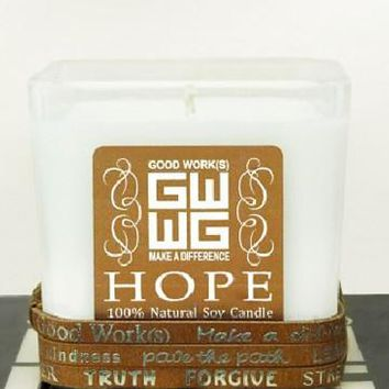 good work(s) inspirational soy candle/bracelet bundle - small 12 oz. (select a word/shape/scent!)