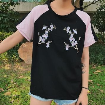Black and Pink Sakura Embroidered Tee