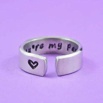 you're my person - Hand Stamped Aluminum Cuff Ring, Grey's Anatomy Inspired, Love And Friendship Ring, Secret Message Ring