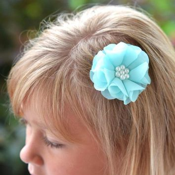 Aqua flower clip - mint flower girl hair clip - girl birthday gift