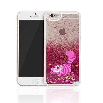For iPhone 6 Case Alice in Wonderland Cheshire Cat Back Cover Case For iphone 5 5S 6PLUS 6S PLUS 7 7 PLUS 5C 4 4S Glitter Cases
