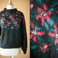 Vintage Poinsettia Sweater | 80s Sweater Novelty Holiday Jumper Winter Slouchy Cosby Tacky Christmas Ugly Xmas Black Sweater LL Bean Floral
