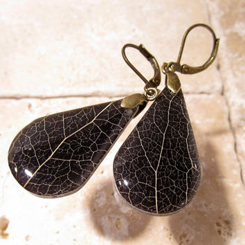 Skeleton Leaf of Salal Earrings, Plant jewelry, leaf jewellery, woodland, rustic, nature jewellery, forest