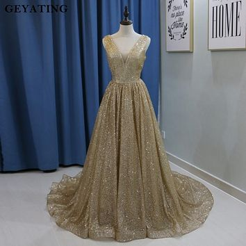 Champagne Gold Sequins Deep V-Neck Backless Evening Dress 2018 Sparkling Yousef aljasm Arabic Prom Dresses Women Formal Gowns