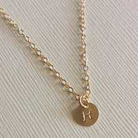 Baby Necklace / 14K Gold filled circle necklace/ personalized/ hand stamped/ initial necklace / gift / babyshower / name / date