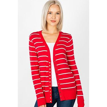 Snap Up Cardigan - Striped Red