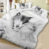 2019 Newest Fashion Polyester 3D Wolf Oil Printing Bedding Set Bed Cloth Comforter Cover Bed Sheet Set Pillowcases High Quality