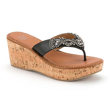 Yellow Box Shoes Black Mecca Wedge Sandal - Women | zulily