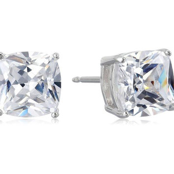 Platinum-Plated Sterling Silver Cushion-Cut Cubic Zirconia Earrings
