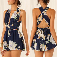 Hot Popular 2016 Trending Fashion Summer Floral Printed Sexy Floral Printed Erotic One Piece Dress _ 7162