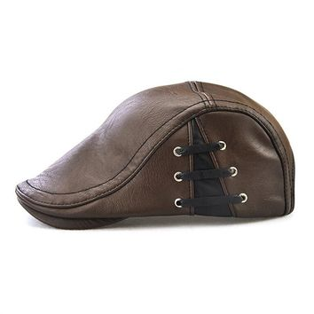 3cbbd41c0b6 Men s Flat Cap Vintage PU Leather Newsboy Cap Flat Golf Hat