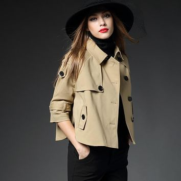 2016 B famous brand luxurious coat Women's Trench England Style short cloak Overcoat classic outfit female tops plus size