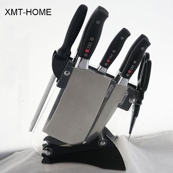 XMT-HOME Kitchen dining bar 8 pieces collection cutlery kitchen knife set chef knifes chopper sharpener scissors holder set