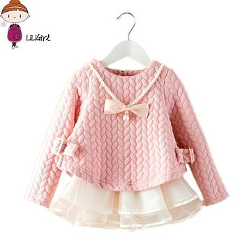 2017 Spring/Winter Kids Brand Dresses Baby Girls tutu Dress Elegant Princess elsa Dress Warm High Quality Girls Clothes 2-6T