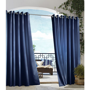 all weather gazebo curtain panels from brookstone epic. Black Bedroom Furniture Sets. Home Design Ideas